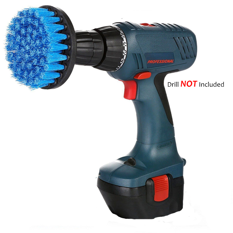 4inch Drill Cleaning Brush Power Scrubber Stiff Scrub Brush Bit Pad Bathroom Tile Tool, Blue