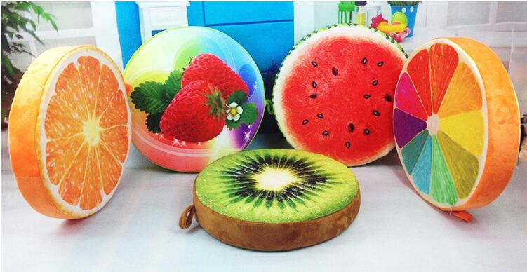 Free shipping New 2017 Hot Creative simulation 3D Fruit Cushions Watermelon Plush toy Pillow Embroidery  Birthday Children Gifts