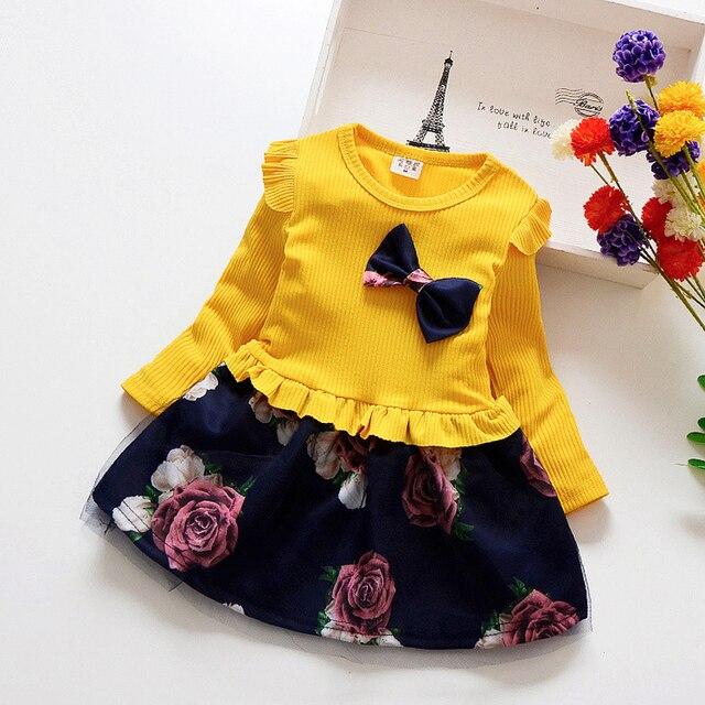 Весенне-осеннее платье для маленьких девочек, хлопковое платье с длинными рукавами для малышей, Детские Платья с цветочным принтом и бантом для девочек, модная одежда для девочек