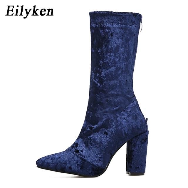 663d50cb559 Eilyken Nieuwe Herfst Winter Laarzen Vrouwen Hoge Hakken Blauw Bruin zwart  Fluwelen Laarzen Voor Vrouw Mid
