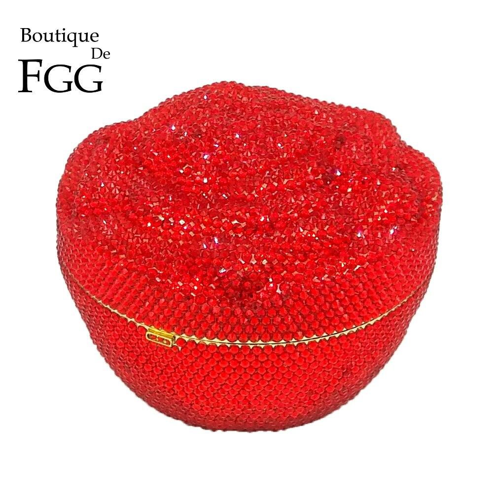 Boutique De FGG Dazzling Fully Red Floral Crystal Diamond Evening Minaudiere Clutch Bag Wedding Party Flower Rose Handbag Purse as16 9 rose top fashion luxury diamond african handbag purse for party wedding