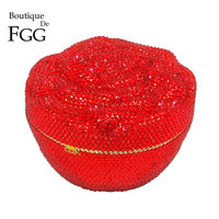 Boutique De FGG Dazzling Fully Red Floral Crystal Diamond Evening Minaudiere Clutch Bag Wedding Party Flower Rose Handbag Purse