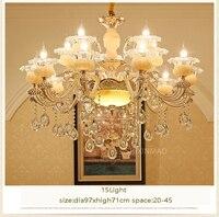 SHIXNIMAO Lusso Simulato Giada LED di Cristallo Lampadari Apparecchi di Illuminazione Con 6 Arms 8 Arms 15 Bracci Per Soggiorno lampada luce