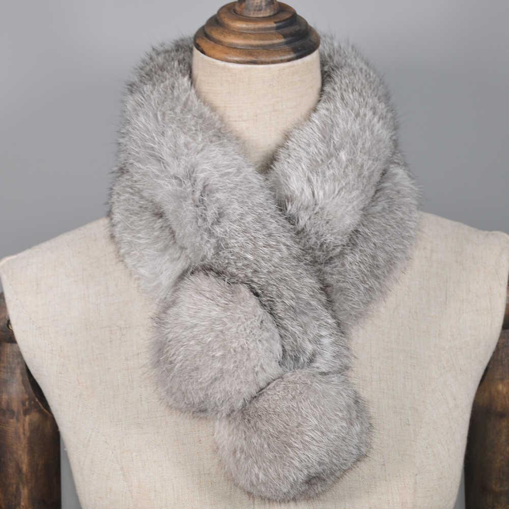 ホット販売女性リアルウサギの毛皮スカーフ 100% 本物のウサギの毛皮ウォームソフトネッカチーフファッション手作りリアルウサギの毛皮スカーフ