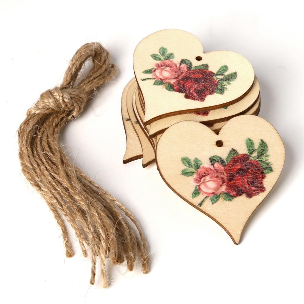 10Pcs/Set Angel Rose Flower Printed Hanging Pendant Laser Cut Wooden Slice Ornament Wood DIY Crafts Home Decor Supplies