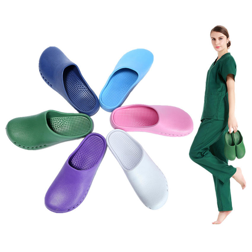 Medical Uniform Operating Room Doctor Slippers Anti-slip Waterproof Hollow Shoes Nurse Nurse Protective Solid Flat Slippers