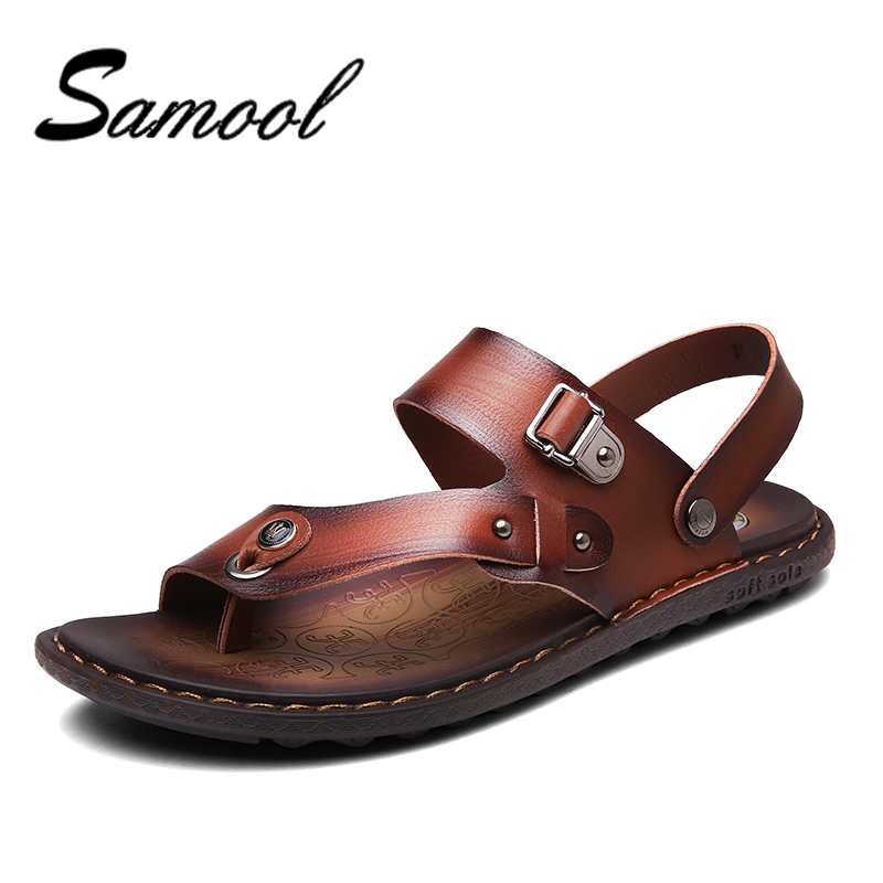 Samool Men Sandals Genuine Split Leather Men Beach Sandals Brand Casual Shoes Flip Flops Men Slippers Sneakers Summer Shoes nx4