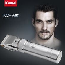 Фотография Original KM-9801 Professional Hair Clipper Aluminum Alloy Rechargeable Electric Hair Trimmer  Hair Removal Hair Cutting Machine