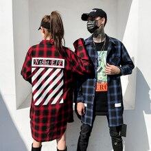 Удлиненные рубашки в клетку в стиле хип-хоп для мужчин, с длинным рукавом для пары, красные, синие, желтые, черные, лето, весна, осень