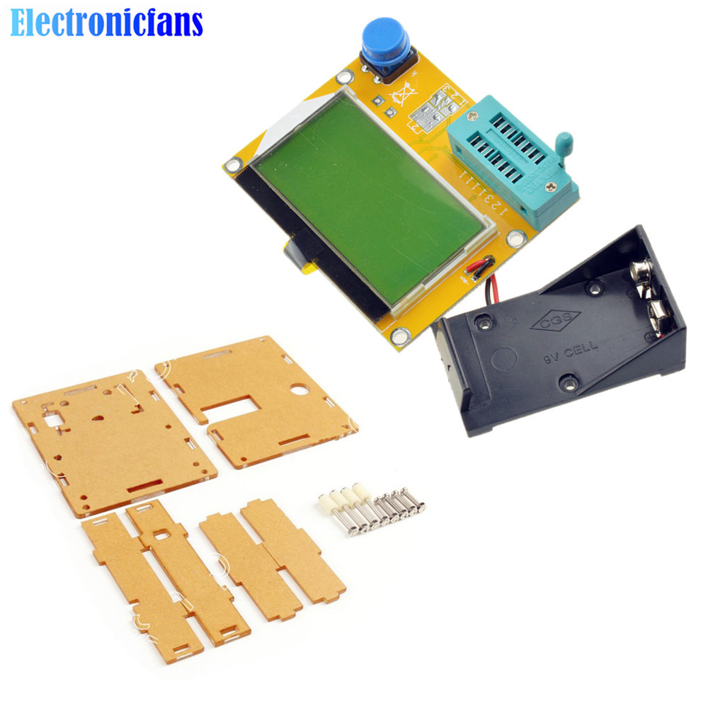LCR-T4 Mega328 Digital Transistor Tester Diode Triode Capacitance ESR Meter MOS/PNP/NPN LCD Tester + Acrylic Case + Battery Case