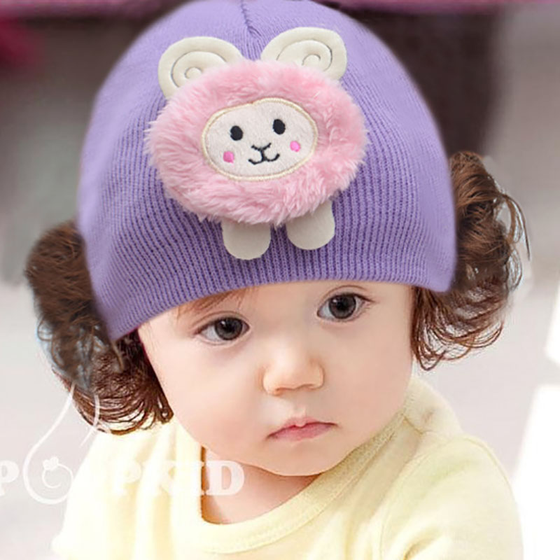 Accessories Warm Knitted Hat Love Heart Toddlers Infant Baby Headband Hair Band Headwear Wig Hat Newborn Photography Props