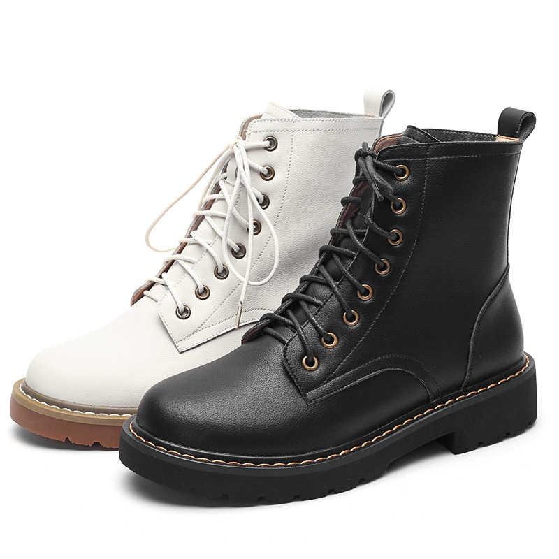 Deri Martin çizmeler kadın sonbahar kış kadın yarım çizmeler A299 moda bayanlar dantel Up bej siyah ayakkabı düşük topuklu