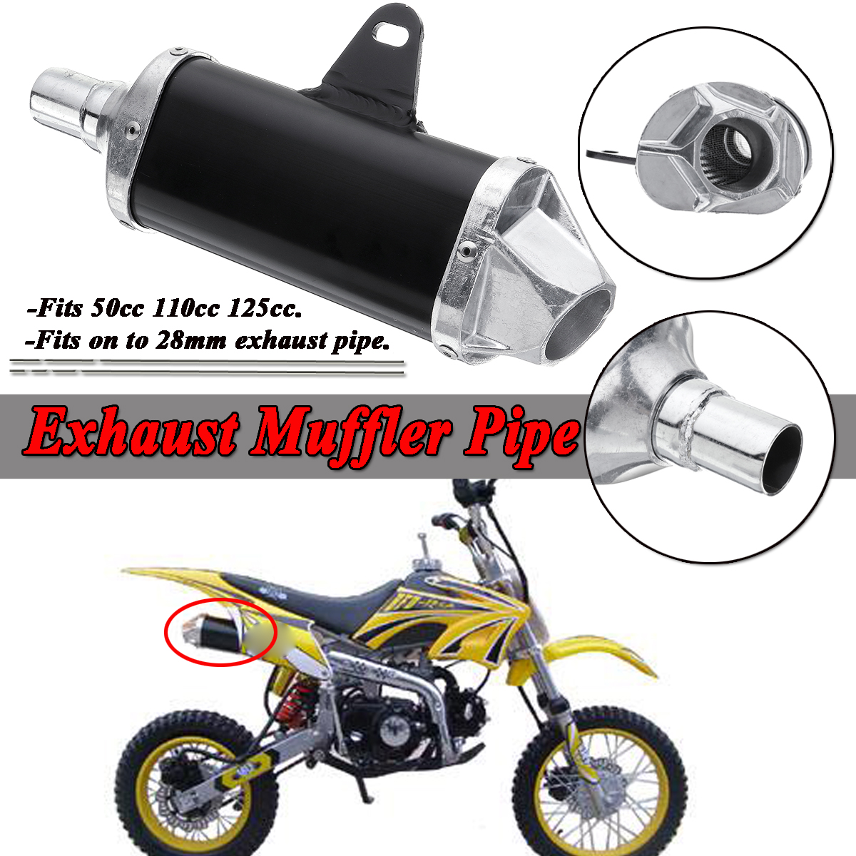 New 28mm Universal Motorcycle Pit Dirt Bike Exhaust Muffler Pipe 50cc 110cc 125cc For Honda For Harley For Yamaha For Suzuki