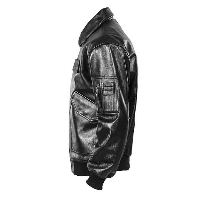 365d45178 2019 Men Black USAF Pilot Leather Jacket Genuine Cowhide Winter Military  Russian Aviator Leather Coat Customized FREE SHIPPING