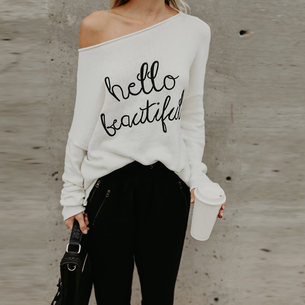 Winter Auturm Womens Long Sleeve Off Shoulder T-Shirt Letter Printed Loose Causal Tops cold shoulder plus size women clothing