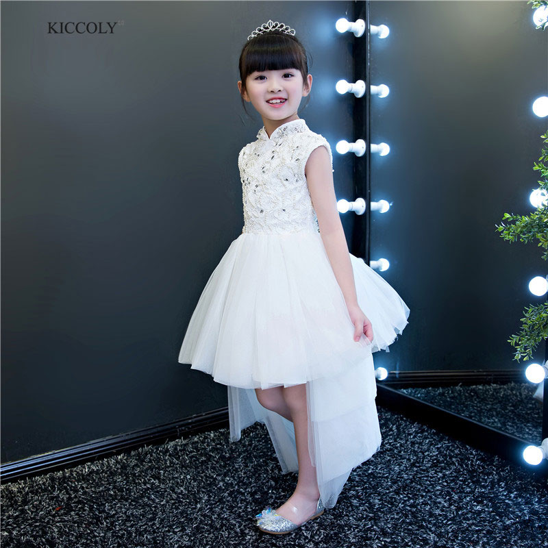 2018 White Child Princess Dress Girls Hand Beaded Cheongsam3-14T Flower Girl Catwalk Tail Dress Kid Stand collar Ball Gown Dress