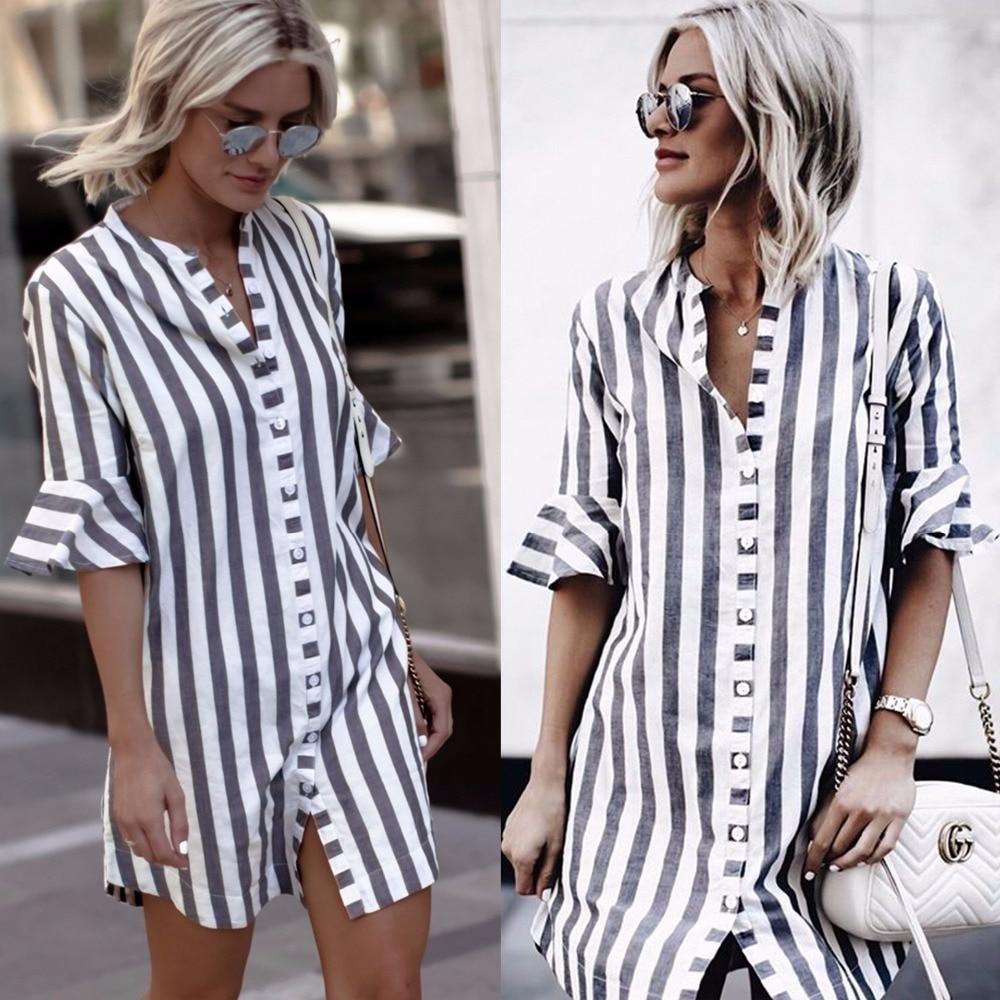 2018 New arrivals fashion women blue white striped half ruffle sleeve stand collar women long button shirt women tops