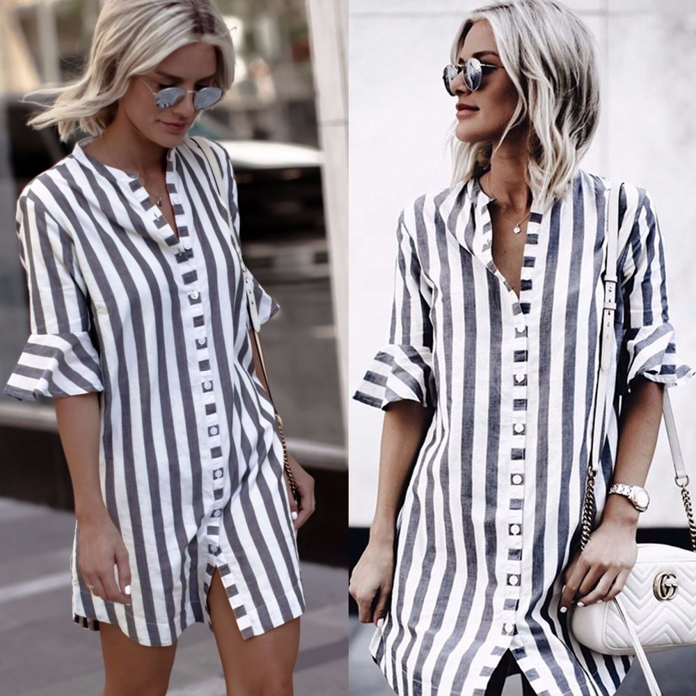 2018 New arrivals fashion women blue white striped half ruffle sleeve stand collar women long button shirt women tops