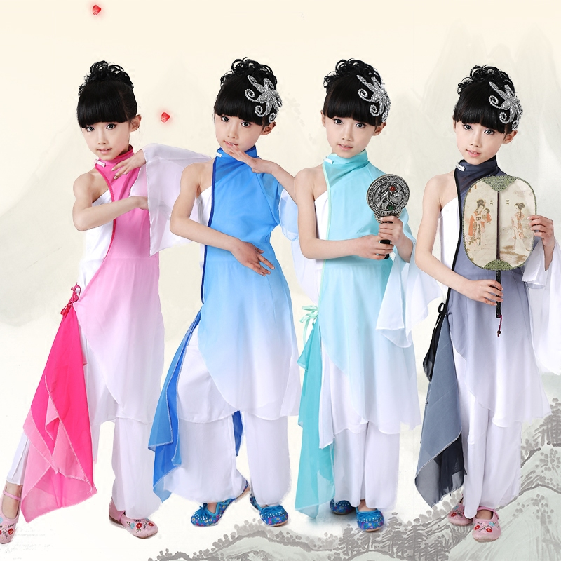 Chinese Folk Dance Honesty Performance Costume Chinese Play Drum Dress Up Gradient Color Child Fan Yangke Classical Dance Costume Stage Jade White