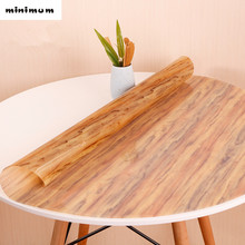 Japanese-style round tablecloth PVC soft glass tablecloths table mat Pad imitation Wood grain waterproof cover