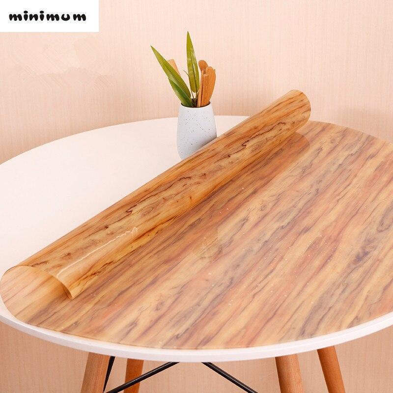 nappe ronde de style japonais en verre souple pvc nappes rondes tapis de table imitation grain de bois couverture de table impermeable