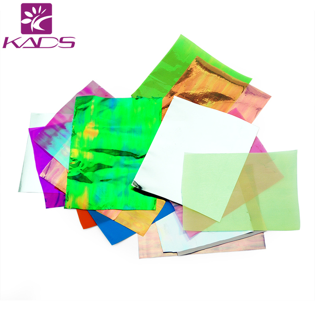 KADS 21pcs/pack Holographic DIY Nail Art Broken Glass Foil Finger Stencil Decal Sticker 21 Colors Nail Art Mirror Manicure Tool
