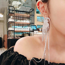 Luxury Crystal Parrot Bird Dangle Earrings Asymmetry Fringed Rhinestone large long earrings for Women Wedding fashion jewelry