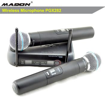 Darmowa wysyłka gorąca sprzedaż PGX282 PGX8 UHF podwójny mikrofon PGX podwójny UHF profesjonalny mikrofon bezprzewodowy SYSTEM tanie i dobre opinie MADON Mikrofon ręczny Dynamiczny Mikrofon Scen Mikrofon Bezprzewodowy Dopasowane Pary Dookólna wireless UHF Fixed Frequency
