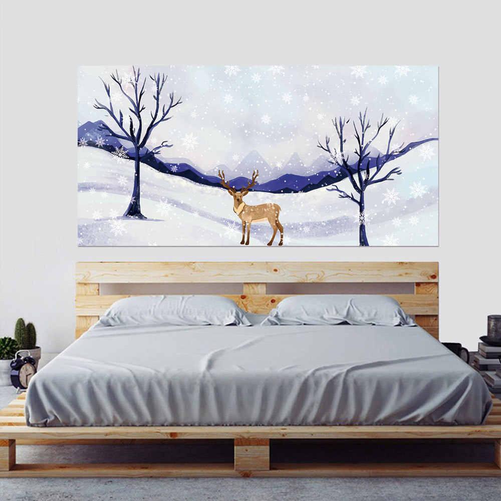 НОВАЯ РОЖДЕСТВЕНСКАЯ декоративная наклейка на кровать изголовье наклейки съемные настенные веселые рождественские снежинки Санта Дети Спальня домашний декор