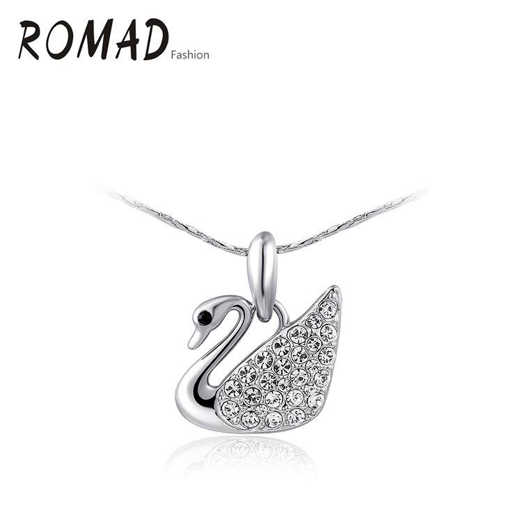 ROMAD Golden Goose Necklace Wholesale fashion Gold Color Austrian Crystal Pendant Necklace fashion jewelry