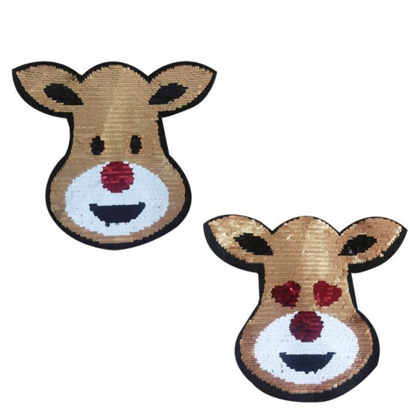 Dog Wearing Heart Glasses Sew On Patches Reversible Change Color Sequins for Clothes DIY Patch Applique Bag Coat Sweater Crafts