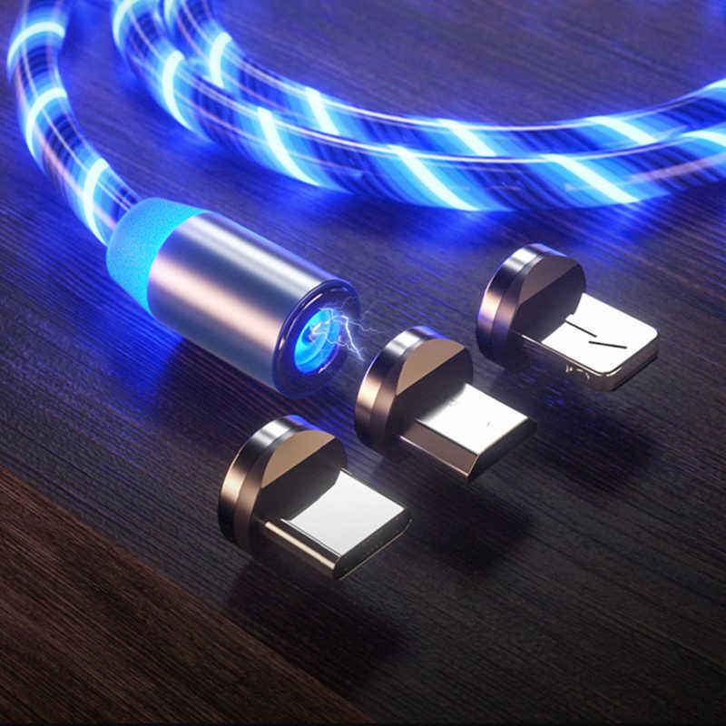 Fil de données d'éclairage lumineux de flux de USB type C de câble de téléphone portable de charge magnétique de 1m pour Samsung Huawei LED Micro Kable