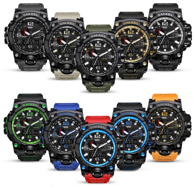 SMAEL Brand Men Sports Watches Dual Display Analog Digital LED Electronic Quartz Wristwatches Waterproof Swimming Military Watch 1