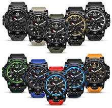 Brand Men Sports Watches Dual Display Analog Digital LED Electronic Quartz Wristwatches Waterproof