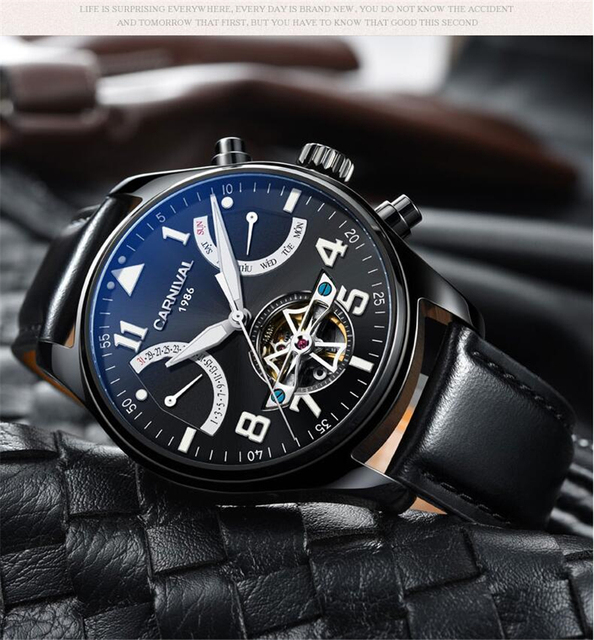 Carnival 2017 Series Relogio Masculino Black Steel Band Automatic Mechanical Male Watches Luxury Tourbillon Skeleton Men Watch