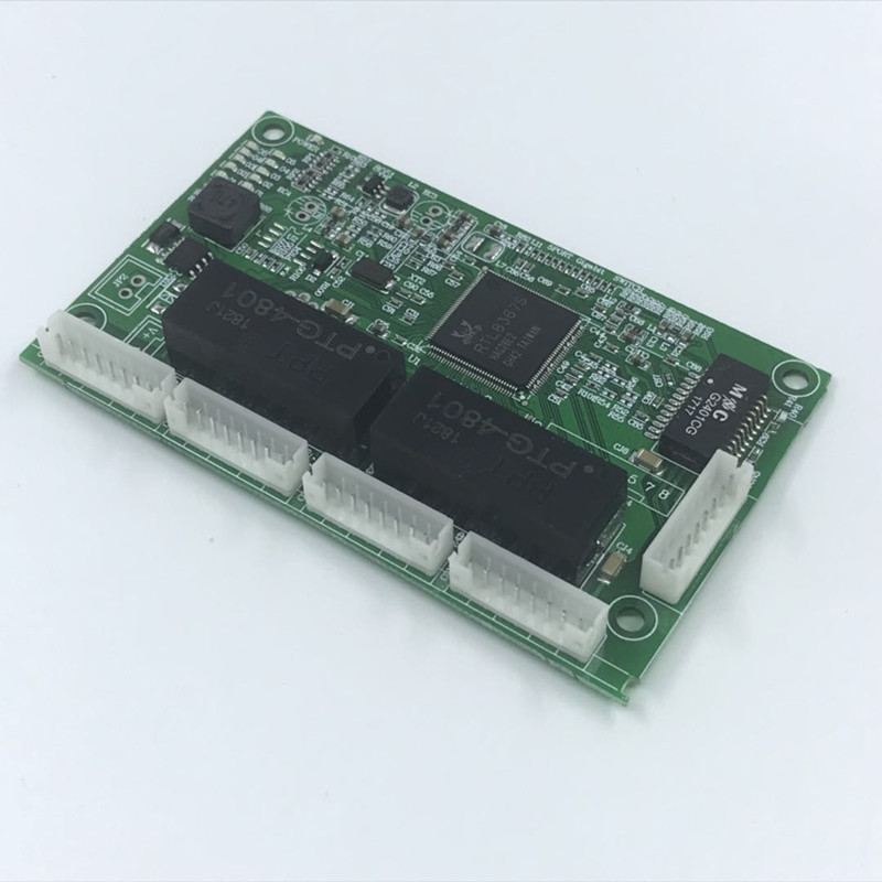 OEM PBC 4/8Port Gigabit Ethernet Switch Port with 4/8 pin way header 10/100/1000m Hub 4/8way power pin Pcb board OEM screw hole