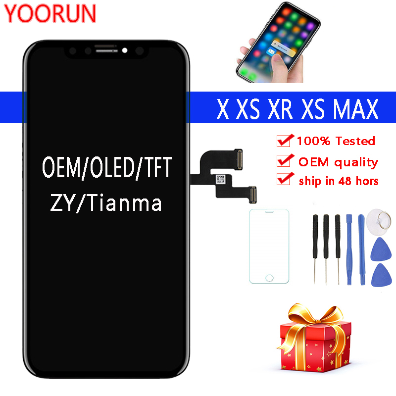 Black 100% OEM Screen For iPhone X S Max XR LCD Display Tianma TFT ZY OLED Touch Screen With Digitizer Assembly ReplacementBlack 100% OEM Screen For iPhone X S Max XR LCD Display Tianma TFT ZY OLED Touch Screen With Digitizer Assembly Replacement