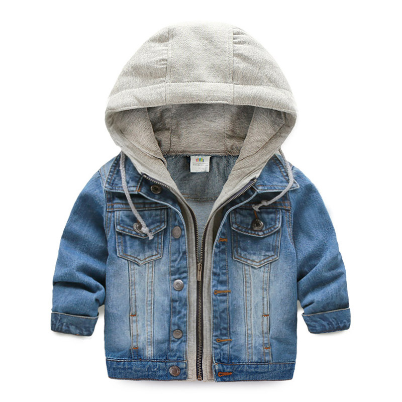 2018 casual spring children clothing kids denim jacket hooded fake two piece baby boy jeans jackets and coats children outerwear image