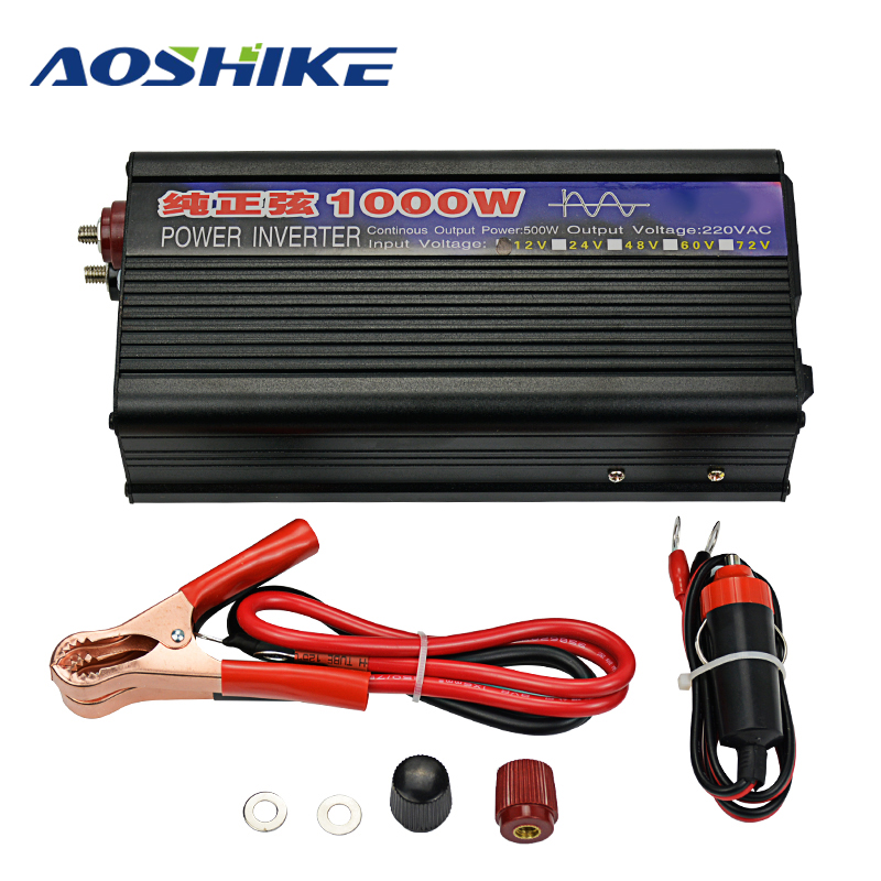 Aoshike 1000W Power Car Inverter board 12V DC To AC 220V Pure Sine Wave Auto Power inversor Converter voltage transformer dc 24v to ac 220v power inverter car vehicle voltage usb power inversor adapter converter car travel inverters fit below 300w