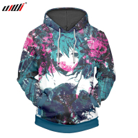 UJWI 3D Printed Hatsune Miku Hoodies Sweatshirts Anime Hooded Hoodie Fashion Brand Mens Casual Boys Pullover Plus Size 5XL, 6XL