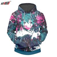 UJWI 3D Printed Hatsune Miku   Hoodies     Sweatshirts   Anime Hooded Hoodie Fashion Brand Mens Casual Boys Pullover Plus Size 5XL, 6XL