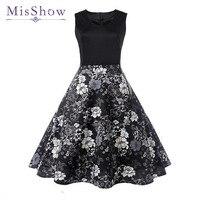 MisShow Fresh Elegant Black Women Dress White Flower Printed Short Ball Gown Summer Dress Ladies Dress Bodycon Retro 1950s