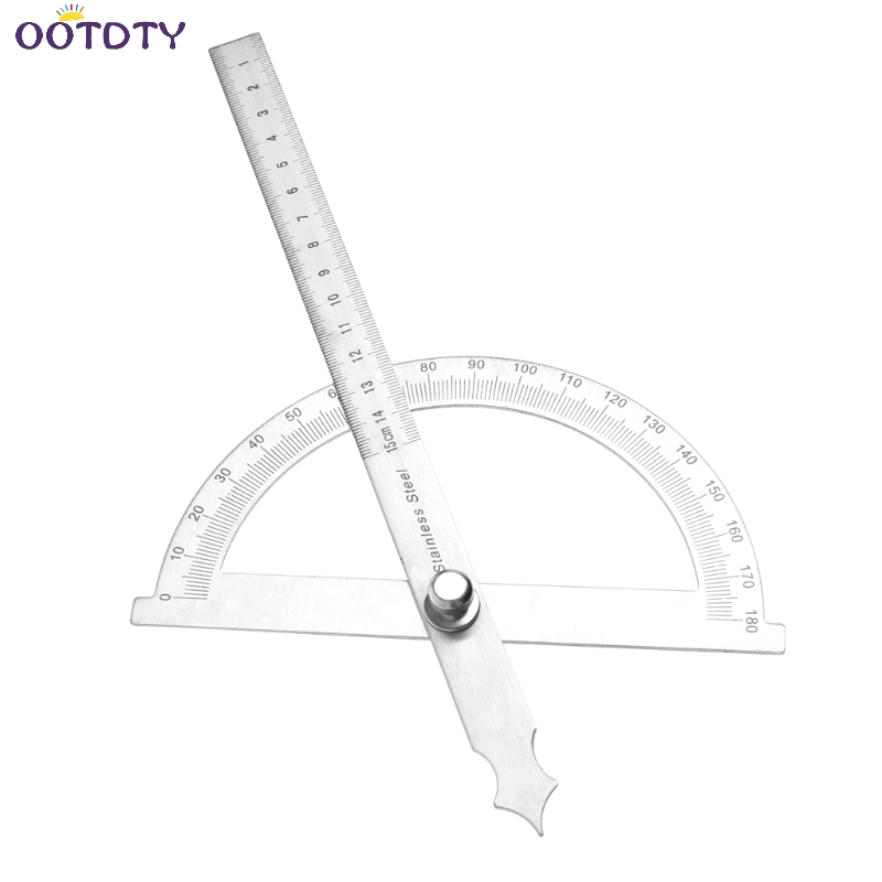 0 180 Degree Angle Ruler Round Head Rotary Protractor Adjustable