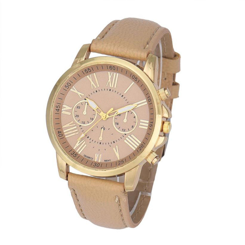 New Women's Fashion Geneva Roman Numerals Faux Leather Analog Quartz Wrist Watch Women Dress Watch Free Shipping