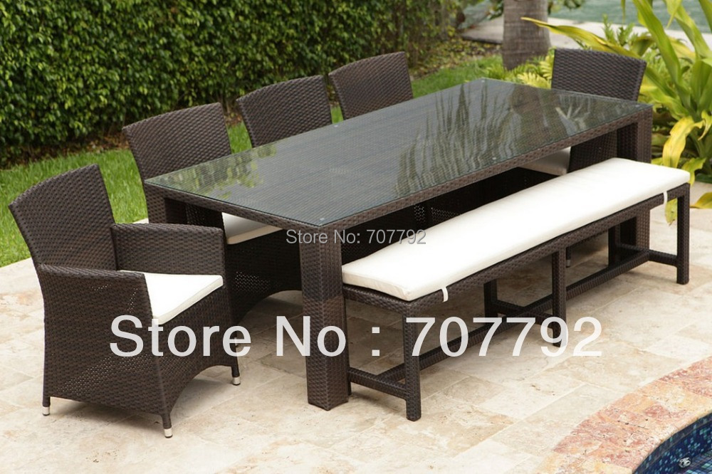 Nice 7 Piece Resin Wicker Outdoor Dining Furniture Set Photo Gallery