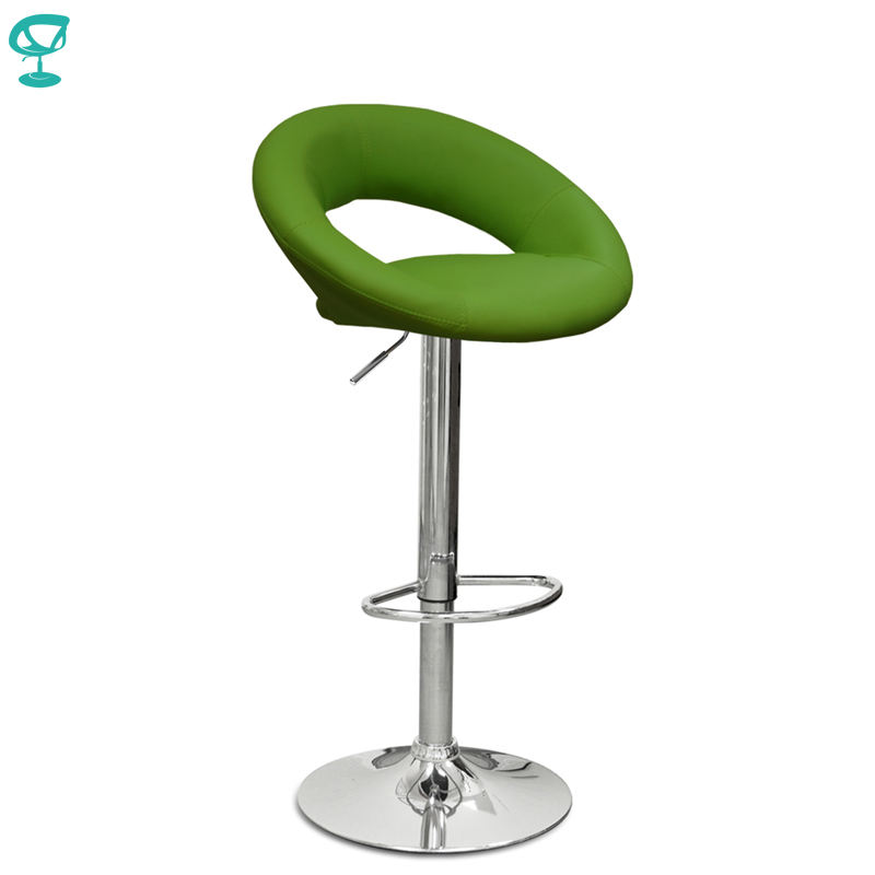 94371 Barneo N-84 Leather Kitchen Breakfast Bar Stool Swivel Bar Chair Green Color Free Shipping In Russia