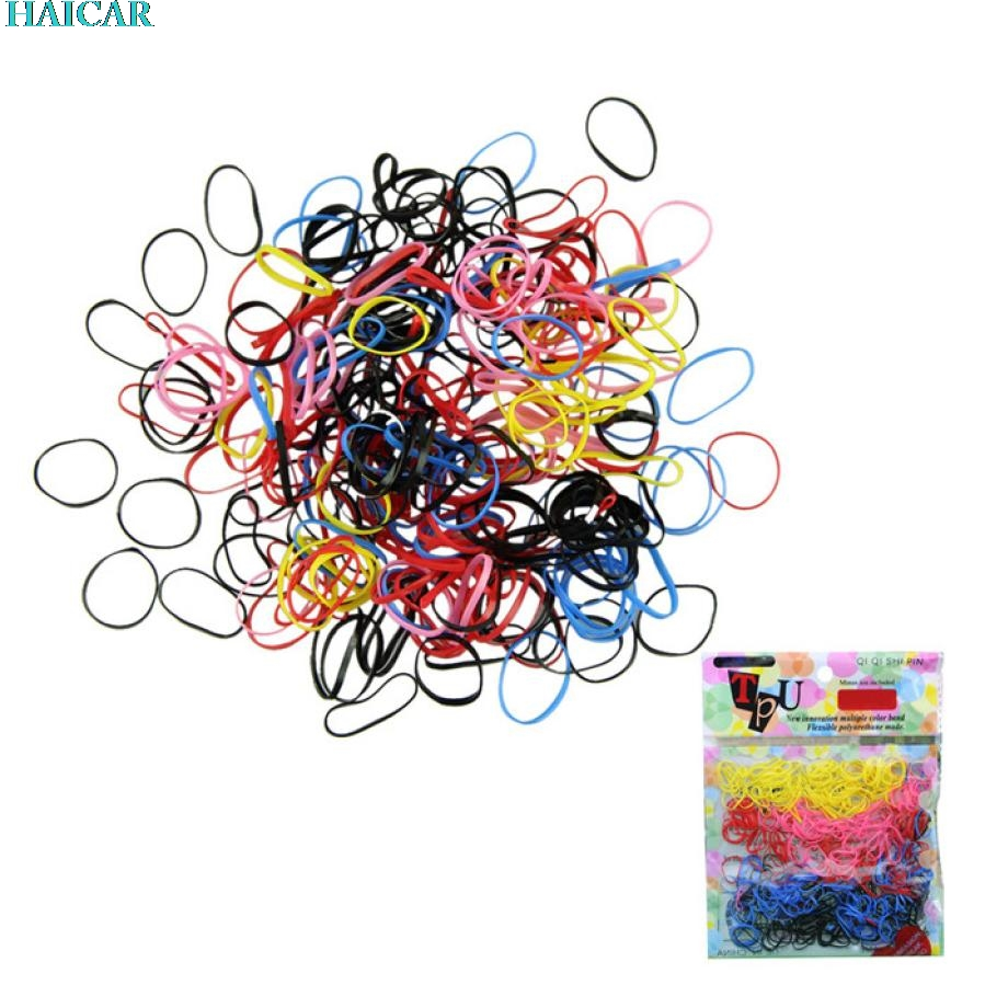 Wholesale Colorful 250-300pcs 1 pack Rubber Hairband Rope Ponytail Holder Elastic Hair Band Ties Braids