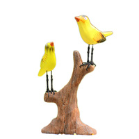 Fairy Garden Bird Wooden Ornaments Sen Department Gardening Miniature American Country Style Home Decoration Accessories Gifts