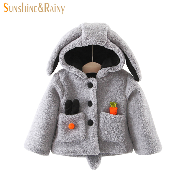0bb04869e Clearance ~ Baby Girls Jackets Warm Lamp Wool Coat Cute Rabbit Ear Hooded  Toddler Girls Bunny Jacket Christmas Outerwear