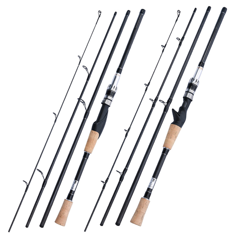Lure Fishing Rod 4 Section Power Carbon Fiber Spinning Casting Travel Rod Fishing Tackle ALS88